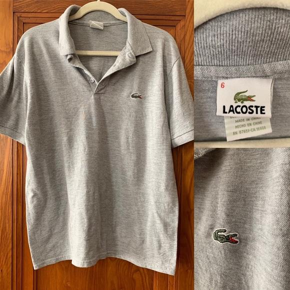 buy popular 0493c 45b2d Izod Lacoste Gray Pique POLO 👕 Shirt Size 6/L